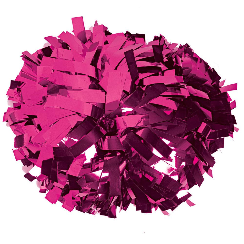 6 Quot Metallic Hot Pink Baton Handle Show Pom Pom