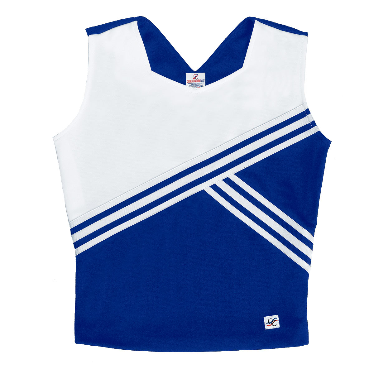 Stock Sweetheart Neck Cheer Uniform Shell Top with Diagonal Design