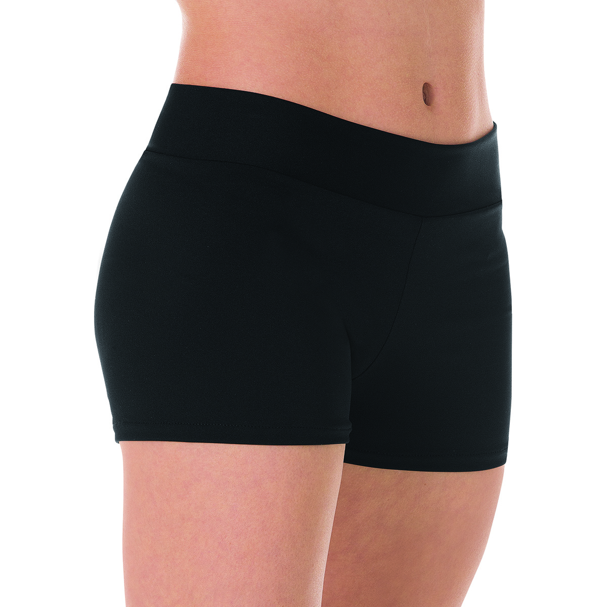 Mid-Rise Elastic Waist Hot Shorts - Black
