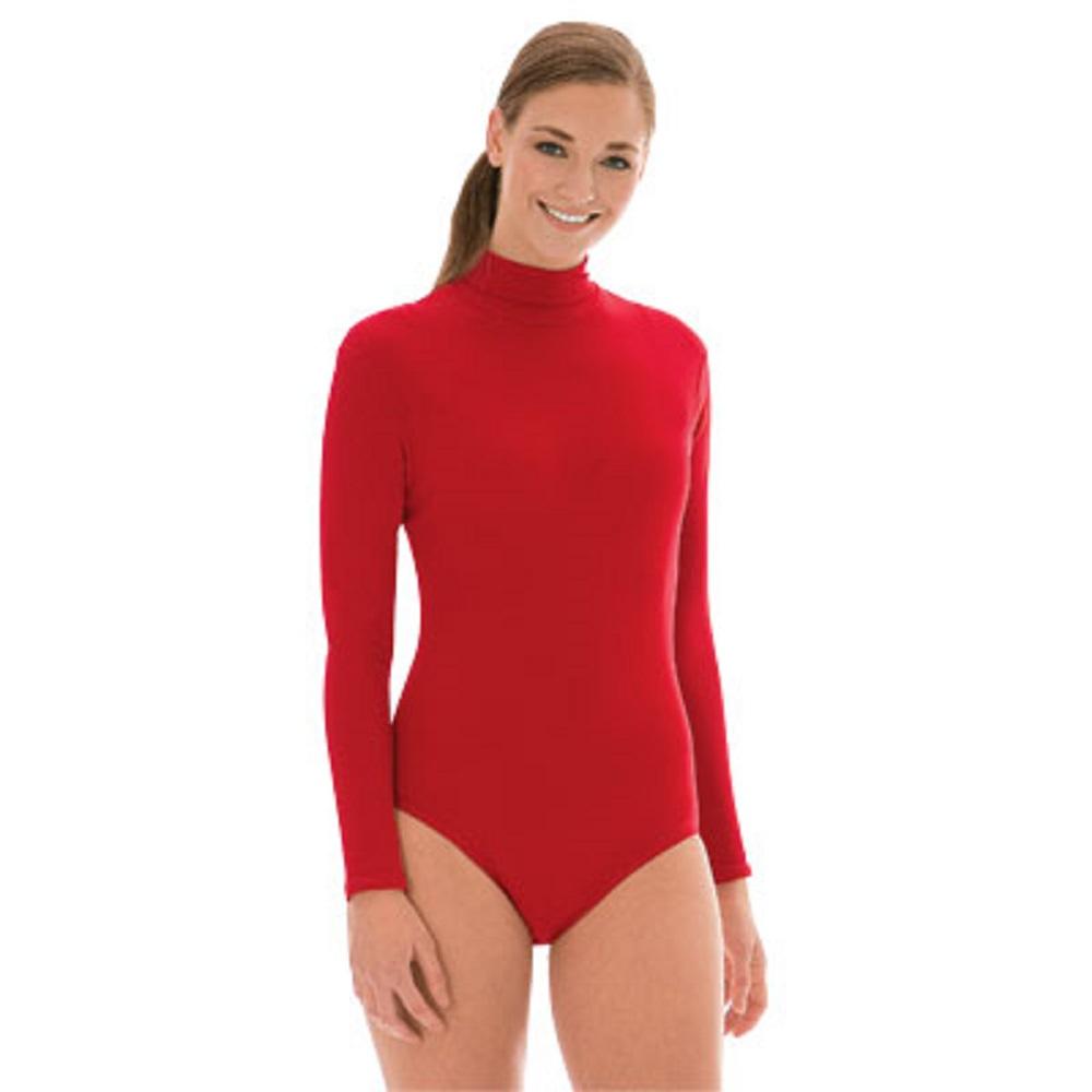 3e773d5b0513 Poly/Spandex Blend - Mock Turtleneck Bodysuit