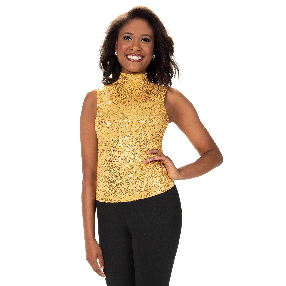 In-Stock Sleeveless Mock Turtleneck Sequin Top