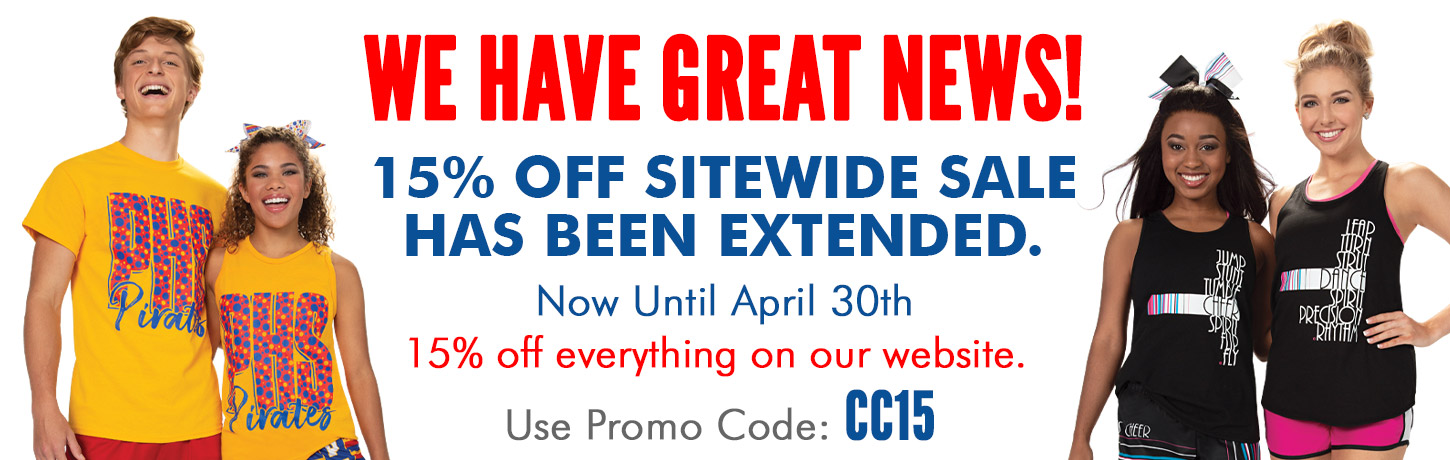 15% Off Sitewide at Cheerleading.com. Everything on our site is 15% Off - Cheer Shoes, Cheerleading Uniforms, Campwear, Megaphones, Cheer Shoes, Briefs & more. Cheerleading.com has Custom Cheer Uniforms, CC Fusion Sublimated Cheerleading Uniforms, Bow To Tow Complete Uniform Packages, Jersey Dresses, and Competition Uniforms at discount prices. Order Our Catalog Today
