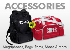 Cheerleader Campwear, Cheer Shoes, Cheer Tees, Cheelrader T-Shirts, Cheerleading Poms, Cheer Bags, Soffe Shorts, Megaphones, Campwear Packages