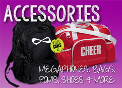 Cheerleader Campwear, Shoes, Shirts, Poms, Bags, Soffe Shorts, Megaphones, Campwear Packages
