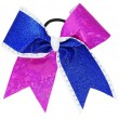 Extra-Large Specialty Material and Glitter Diagonal Flip Flop Bow with Rhinestones