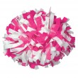 Hot Pink/White Baton Handle Cheerleading Pom Pom