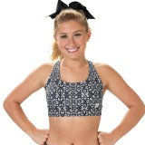 CC Spiritwear Black/White Gemstone Racer Back Sports Bra
