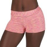 Mid-Rise Coral and Yellow Space Dye Hot Shorts