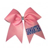 "3"" Personalized Sublimated Shimmer Ribbon Bow with Rhinestone Knot"