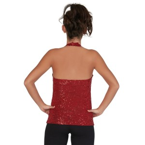 CC Dancewear Sequin V-Neck Halter Top