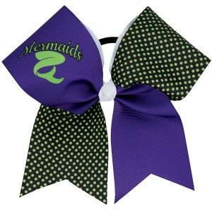 "3"" Custom Sublimated Grosgrain Patterned Flip Bow with Mascot and Team Name (HBCCF-002D)"