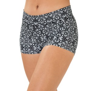 Mid-Rise Black/White Gemstone Hot Shorts