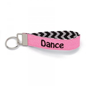 Dance Key Chain Fob Wristlet with Pink Glitter and Chevron