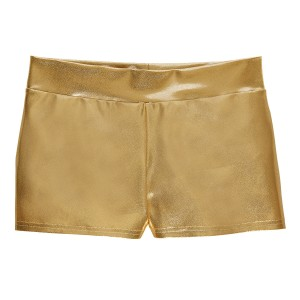 Mid-Rise Metallic Gold Hot Shorts