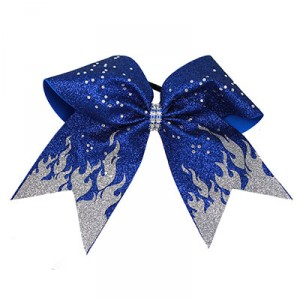 Extra-Large Glitter Flame Bow with Rhinestones
