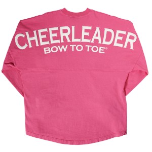 Cheerleader BOW TO TOE Spirit Football Jersey Hot Pink