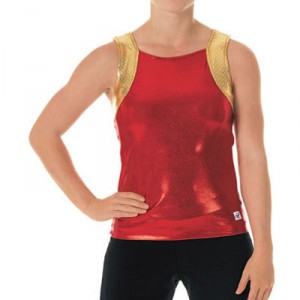 CC Dancewear Round Neck Specialty Material Top with Open Back
