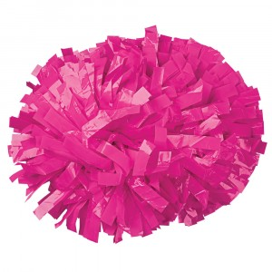 "Hot Pink 6"" Baton Handle Cheerleading Pom Pom"
