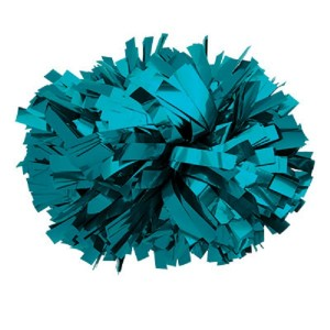 "Solid Color 6"" Metallic Baton Handle Pom Pom"